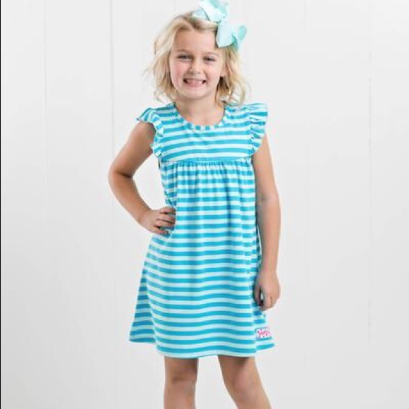 Ruffle Girl Other - Ruffle Girl Robin's Egg Blue Stripe Pearl Dress